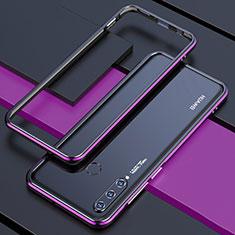 Handyhülle Hülle Luxus Aluminium Metall Rahmen Tasche für Huawei P30 Lite Violett