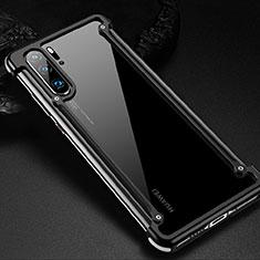 Handyhülle Hülle Luxus Aluminium Metall Rahmen Tasche für Huawei P30 Pro Schwarz