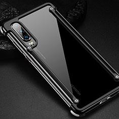 Handyhülle Hülle Luxus Aluminium Metall Rahmen Tasche für Huawei P30 Schwarz