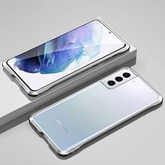 Handyhülle Hülle Luxus Aluminium Metall Rahmen Tasche für Samsung Galaxy S21 5G Silber