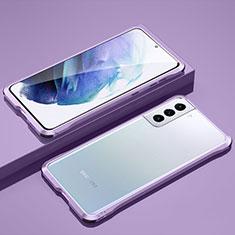 Handyhülle Hülle Luxus Aluminium Metall Rahmen Tasche für Samsung Galaxy S21 Plus 5G Helles Lila