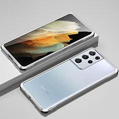 Handyhülle Hülle Luxus Aluminium Metall Rahmen Tasche für Samsung Galaxy S21 Ultra 5G Silber
