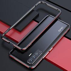 Handyhülle Hülle Luxus Aluminium Metall Rahmen Tasche für Vivo X50 5G Rot und Schwarz