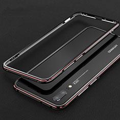 Handyhülle Hülle Luxus Aluminium Metall Rahmen Tasche M01 für Huawei P20 Rot und Schwarz