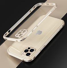 Handyhülle Hülle Luxus Aluminium Metall Rahmen Tasche N01 für Apple iPhone 12 Pro Gold