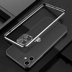 Handyhülle Hülle Luxus Aluminium Metall Rahmen Tasche N01 für Apple iPhone 12 Schwarz
