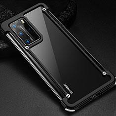 Handyhülle Hülle Luxus Aluminium Metall Rahmen Tasche N01 für Huawei P40 Pro Schwarz