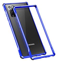 Handyhülle Hülle Luxus Aluminium Metall Rahmen Tasche N01 für Samsung Galaxy Note 20 5G Blau