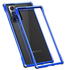 Handyhülle Hülle Luxus Aluminium Metall Rahmen Tasche N01 für Samsung Galaxy Note 20 Ultra 5G Blau