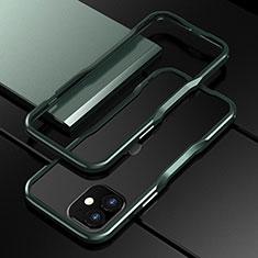 Handyhülle Hülle Luxus Aluminium Metall Rahmen Tasche N02 für Apple iPhone 12 Mini Nachtgrün