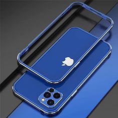 Handyhülle Hülle Luxus Aluminium Metall Rahmen Tasche N02 für Apple iPhone 12 Pro Blau