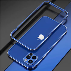 Handyhülle Hülle Luxus Aluminium Metall Rahmen Tasche N02 für Apple iPhone 12 Pro Max Blau