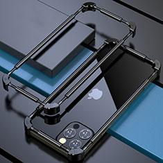 Handyhülle Hülle Luxus Aluminium Metall Rahmen Tasche N03 für Apple iPhone 12 Pro Schwarz