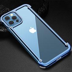 Handyhülle Hülle Luxus Aluminium Metall Rahmen Tasche N04 für Apple iPhone 12 Pro Blau