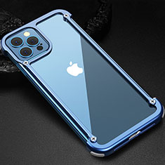 Handyhülle Hülle Luxus Aluminium Metall Rahmen Tasche N04 für Apple iPhone 12 Pro Max Blau