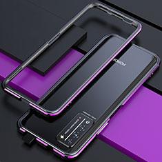 Handyhülle Hülle Luxus Aluminium Metall Rahmen Tasche T01 für Huawei Honor X10 5G Violett und Schwarz