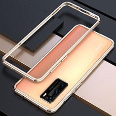 Handyhülle Hülle Luxus Aluminium Metall Rahmen Tasche T01 für Huawei P40 Gold