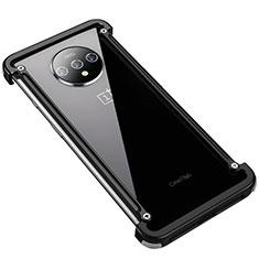Handyhülle Hülle Luxus Aluminium Metall Rahmen Tasche T01 für OnePlus 7T Schwarz