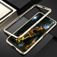 Handyhülle Hülle Luxus Aluminium Metall Rahmen Tasche T01 für Realme X50 Pro 5G Gold