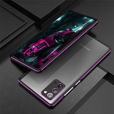 Handyhülle Hülle Luxus Aluminium Metall Rahmen Tasche T01 für Samsung Galaxy Note 20 5G Violett