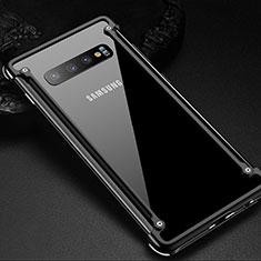 Handyhülle Hülle Luxus Aluminium Metall Rahmen Tasche T01 für Samsung Galaxy S10 Plus Schwarz