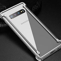 Handyhülle Hülle Luxus Aluminium Metall Rahmen Tasche T01 für Samsung Galaxy S10 Silber