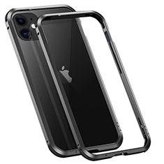 Handyhülle Hülle Luxus Aluminium Metall Rahmen Tasche T02 für Apple iPhone 12 Mini Schwarz