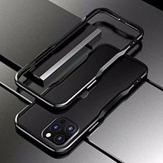 Handyhülle Hülle Luxus Aluminium Metall Rahmen Tasche T03 für Apple iPhone 12 Pro Max Schwarz
