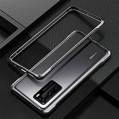 Handyhülle Hülle Luxus Aluminium Metall Rahmen Tasche T04 für Huawei P40 Schwarz