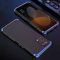 Handyhülle Hülle Luxus Aluminium Metall Tasche 360 Grad Ganzkörper für Oppo Reno5 5G Blau und Schwarz