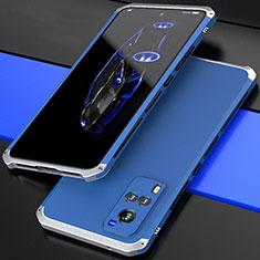 Handyhülle Hülle Luxus Aluminium Metall Tasche 360 Grad Ganzkörper für Vivo X60 5G Silber und Blau