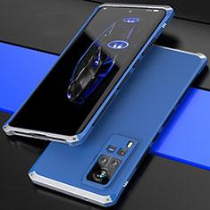 Handyhülle Hülle Luxus Aluminium Metall Tasche 360 Grad Ganzkörper für Vivo X60 Pro 5G Silber und Blau