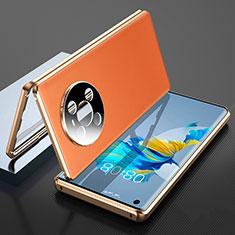 Handyhülle Hülle Luxus Aluminium Metall Tasche 360 Grad Ganzkörper K01 für Huawei Mate 40 Orange