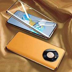 Handyhülle Hülle Luxus Aluminium Metall Tasche 360 Grad Ganzkörper K02 für Huawei Mate 40 Pro Gelb