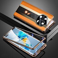 Handyhülle Hülle Luxus Aluminium Metall Tasche 360 Grad Ganzkörper K03 für Huawei Mate 40 Pro Orange