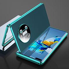 Handyhülle Hülle Luxus Aluminium Metall Tasche 360 Grad Ganzkörper K04 für Huawei Mate 40 Pro Cyan
