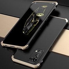 Handyhülle Hülle Luxus Aluminium Metall Tasche 360 Grad Ganzkörper M01 für Oppo Reno5 5G Gold und Schwarz