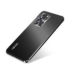 Handyhülle Hülle Luxus Aluminium Metall Tasche A01 für Huawei P40 Pro Schwarz