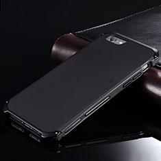 Handyhülle Hülle Luxus Aluminium Metall Tasche für Apple iPhone 6S Plus Schwarz