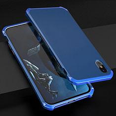 Handyhülle Hülle Luxus Aluminium Metall Tasche für Apple iPhone Xs Blau
