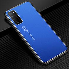 Handyhülle Hülle Luxus Aluminium Metall Tasche für Huawei Honor Play4 5G Blau
