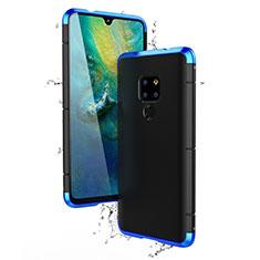 Handyhülle Hülle Luxus Aluminium Metall Tasche für Huawei Mate 20 Blau