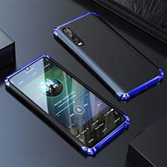 Handyhülle Hülle Luxus Aluminium Metall Tasche für Huawei P30 Blau
