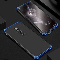 Handyhülle Hülle Luxus Aluminium Metall Tasche für Oppo Reno 10X Zoom Blau