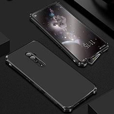 Handyhülle Hülle Luxus Aluminium Metall Tasche für Oppo Reno 10X Zoom Schwarz