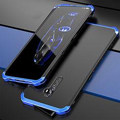 Handyhülle Hülle Luxus Aluminium Metall Tasche für Oppo Reno2 Blau