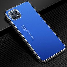 Handyhülle Hülle Luxus Aluminium Metall Tasche für Oppo Reno4 SE 5G Blau