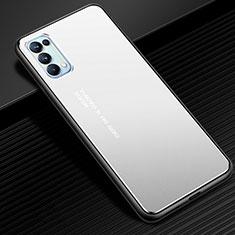 Handyhülle Hülle Luxus Aluminium Metall Tasche für Oppo Reno5 Pro 5G Silber