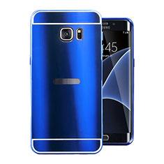 Handyhülle Hülle Luxus Aluminium Metall Tasche für Samsung Galaxy S7 Edge G935F Blau