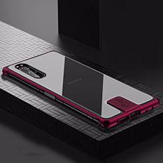 Handyhülle Hülle Luxus Aluminium Metall Tasche für Sony Xperia 5 Fuchsie